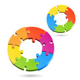 Jigsaw puzzle wheels. Vector illustration of jigsaw puzzle wheels royalty free illustration