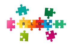 Jigsaw puzzle with word Blog Stock Photo