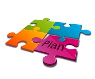 Jigsaw puzzle with word of plan Royalty Free Stock Image