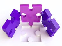 Jigsaw Puzzles Composition in 3D. Bluec and Violet Jigsaw Puzzles Composition in 3D Stock Images
