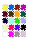 Jigsaw Puzzles with Different Colors stock photos