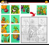 Jigsaw puzzles with fruit characters Royalty Free Stock Image