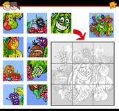 Jigsaw puzzles with fruits characters Stock Photo