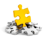 Jigsaw puzzles in gold and chrome Stock Photography
