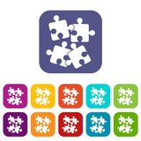 Jigsaw puzzles icons set. Vector illustration in flat style in colors red, blue, green, and other Stock Photo