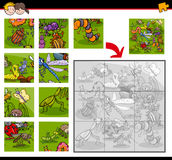 Jigsaw puzzles with insects. Cartoon Illustration of Education Jigsaw Puzzle Activity Task for Children with Insect and Bug Animal Characters royalty free illustration