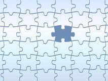 Jigsaw puzzles pattern. In blue with one special piece Royalty Free Stock Photography