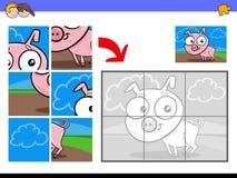 Jigsaw puzzles with piglet farm animal. Cartoon Illustration of Educational Jigsaw Puzzle Activity Game for Children with Piglet Farm Animal Character Stock Photography