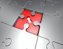 Jigsaw puzzles problem and solution concept. Illustration Royalty Free Stock Photography