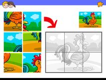 Jigsaw puzzles with rooster animal character Royalty Free Stock Photo