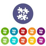 Jigsaw puzzles set icons. In different colors isolated on white background Royalty Free Stock Photography
