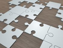 Jigsaw puzzles on the table 3d illustration. Jigsaw puzzles on the table 3d abstract illustration, game, strategy symbol Royalty Free Stock Photography