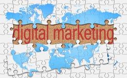 Jigsaw reveal digital marketing word on cork background Royalty Free Stock Photo