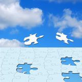 Jigsaw in sky Royalty Free Stock Photography