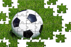 Jigsaw soccer ball. Jigsaw pieces of a black and white soccer ball on green grass vector illustration