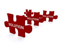 Jigsaw solution pieces. 3d illustration of red jigsaw pieces with word solution written on them, business concept on white background Royalty Free Stock Photography