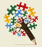 Jigsaw strategic concept pencil tree Royalty Free Stock Photography