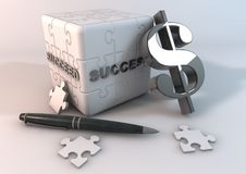 Jigsaw succeed. Jigsaw cube on a white background stock illustration