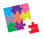 Jigsaw success idea vectors. Illustration Royalty Free Stock Images