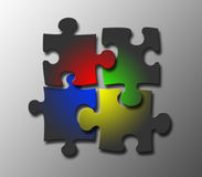 Jigsaw together. Jigsaw pieces with windows colouring Stock Image