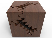 Jigsaw wooden cube Royalty Free Stock Photography