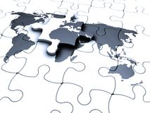Jigsaw of the world. 3D render of a jigsaw puzzle with the world map Stock Image