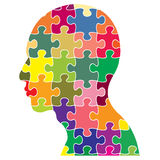 Jigsaws puzzle of human head Stock Photos