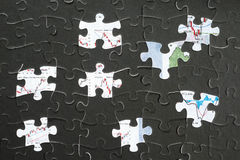 Jigzaw puzzle and economic graph Stock Photography