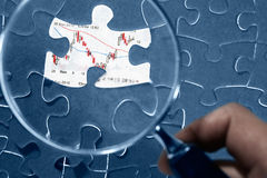 Jigzaw puzzle and economic graph Royalty Free Stock Image