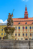Jihlava (Iglau) Main (Masaryk) Square with Saint Ignatius Church Royalty Free Stock Images