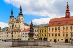 Jihlava (Iglau) Main (Masaryk) Square with Saint Ignatius Church Royalty Free Stock Image