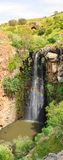The Jilabun Waterfall,Golan Heights, Israel. Vertical panorama of the Jilabun Waterfall, Golan Heights Royalty Free Stock Image