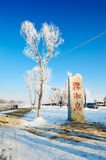 Jilin frost in blue sky. The photo was taken in Wusong island Ulla manchu town Longtan district Jilin city Liaoning provence,China Royalty Free Stock Photography