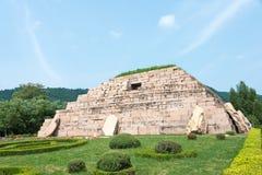 JILIN KINA - Juli 27 2015: Mausoleum av konungen Jangsu (gravvalv av th Arkivbild