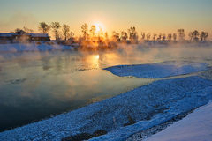 Jilin rime island sunrise. The photo was taken in Wusong island Ulla manchu town Longtan district Jilin city Liaoning provence,China Stock Photography