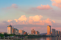 Jilin songhua river at dusk. The setting sun, dusk, jilin city, songhua river, backlight, thick clouds, rich layers Royalty Free Stock Photo