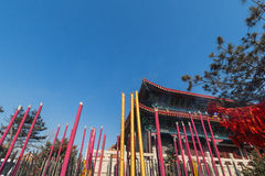 Jilin wanshou temple buildings. Located in changchun city of jilin province China bayhood tourism scenic spot of Beijing art museum, there have been 200 years of Stock Photography