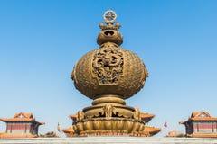 Jilin wanshou temple incense burner. Wanshou temple in changchun, jilin on China's huge incense burner, the scale of the incense burner is very rare, fine Royalty Free Stock Images