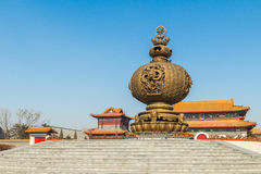 Jilin wanshou temple incense burner. Wanshou temple in changchun, jilin on China's huge incense burner, the scale of the incense burner is very rare, fine Stock Images