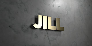 Jill - Gold sign mounted on glossy marble wall  - 3D rendered royalty free stock illustration Royalty Free Stock Images