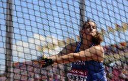 JILLIAN SHIPPEE from Usa on hammer throw final on the IAAF World U20 Championship Tampere, Finland 14July, 2018. TAMPERE, FINLAND, July 14: JILLIAN SHIPPEE from stock photos