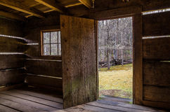 Jim Bales Cabin, Roaring Fork motor trail, Great Smoky Mountains. Spring from inside the old Jim Bale's Cabin along the Roaring Fork Motor Nature Trail in the Stock Photography