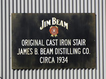Jim Beam Sign. Sign of the Jim Beam Stillhouse and distillery at Clermont, Kentucky, USA. Jim Beam is a brand of Kentucky straight bourbon whiskey Royalty Free Stock Images