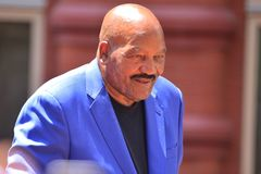 Jim Brown. Cleveland, OH – June 22, 2016: Actor and HOF Athlete Jim Brown speaks at the Cleveland Cavaliers NBA Championship Parade Royalty Free Stock Image