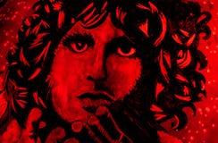 Jim Morrison in een pompoen wordt gesneden die Royalty-vrije Stock Foto's