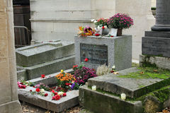Jim Morrison grave in Pere Lachaise cemetery, Paris Stock Photos