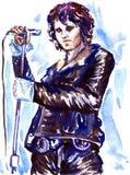 Jim Morrison, líder das portas, com o microfone na fase no casaco de cabedal escuro ilustração royalty free