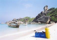jim, na plaży na wyspę akwalung similian obrazy royalty free