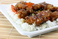 Jim's sesame chicken on plate. Chinese dinner of sesame chicken and rice on a white plate on a bamboo placemat stock images