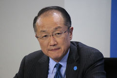 Jim Yong Kim. MARCH 11, 2015 - BERLIN: President of the World Bank Jim Yong Kim at a press conference after a meeting with the German Chancellor in the Chanclery Stock Image